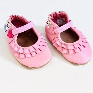 Robeez 'Pandora' Pink Leather Soft Sole Shoes
